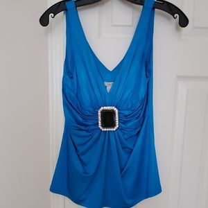 Cache blue accent sleeveless top